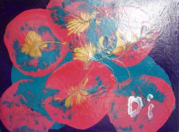 Art: Pink leaves    SOLD by Artist Di  Wendy Peel