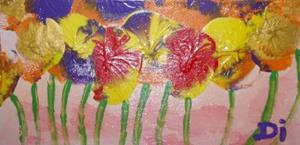 Detail Image for art Pansies in Slumber  SOLD