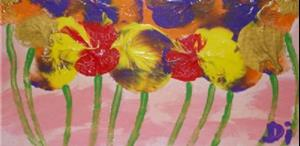 Detail Image for art Slumbering Pansies   SOLD