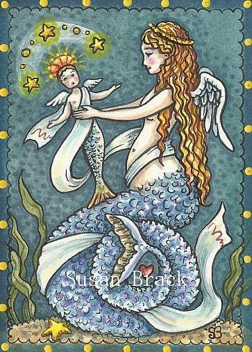 Art: MERMAID MADONNA AND CHILD by Artist Susan Brack