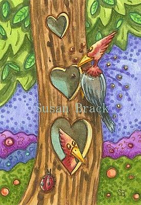 Art: WOODPECKER AMOUR by Artist Susan Brack