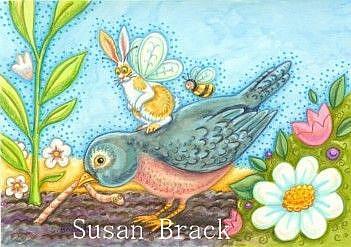 Art: FLUTTERBUN Fairy RIDING ROBIN RED BREAST by Artist Susan Brack