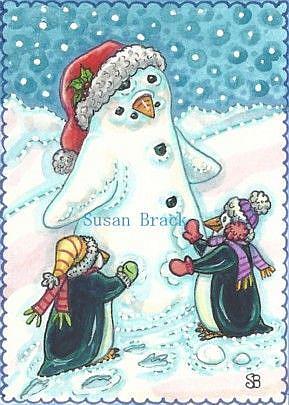 Art: SNOW PENGUIN Snowman by Artist Susan Brack