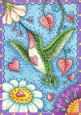 Art: HUMMINGBIRD HEARTS by Artist Susan Brack