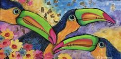 Art: THREE TOUCANS 12X24 sold by Artist Ke Robinson