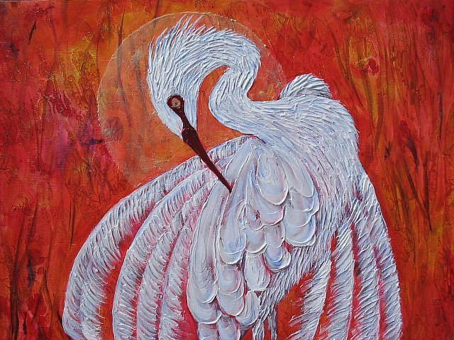 Art: Grassy Waters Egret -SOLD by Artist Ke Robinson