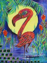 Art: Flamboyant Flamingos SOLD by Artist Ke Robinson