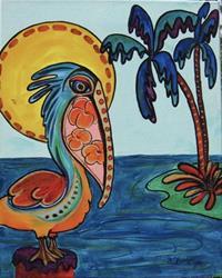 Art: Wild Pelican #0318 16x20 by Artist Ke Robinson