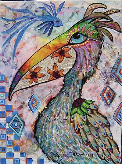 Art: Wild Pelican #0309 18x24 by Artist Ke Robinson