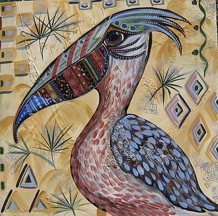 Art: Wild Pelican #0308 18x18 by Artist Ke Robinson