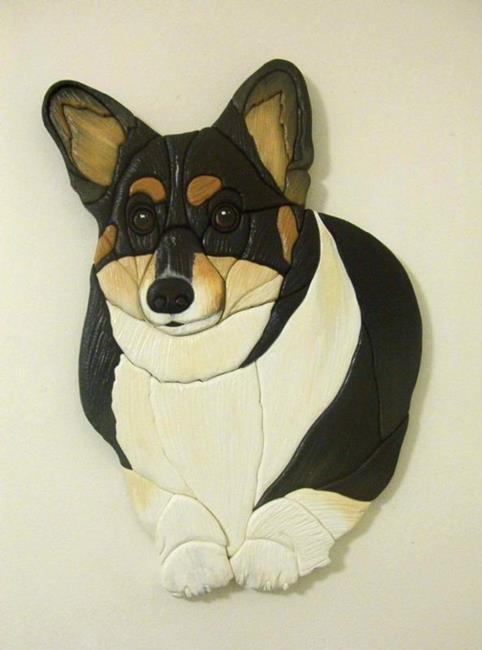 Art: 'BOB' ORIGINAL PAINTED INTARSIA ART by Artist Gina Stern