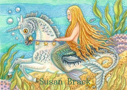 Art: MERMAID AND SEA STALLION by Artist Susan Brack