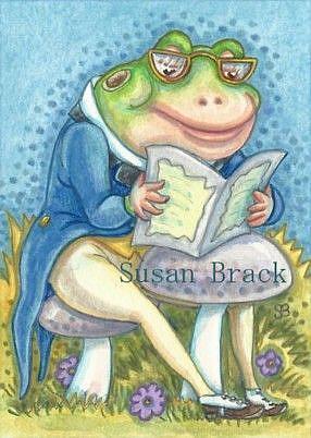 Art: READING THE BULLFROG GAZETTE by Artist Susan Brack