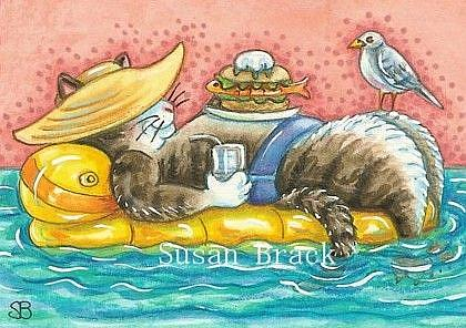 Art: DAY AT THE BEACH Series  ALWAYS A COOL CAT  by Artist Susan Brack