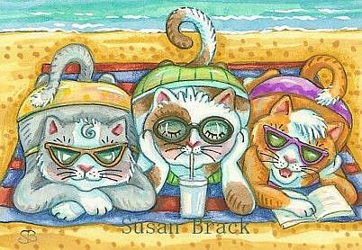 Art: DAY AT THE BEACH Series  BEACH BABES  by Artist Susan Brack