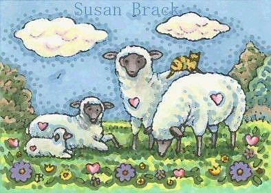 Art: SHEEP IN THE MEADOW by Artist Susan Brack
