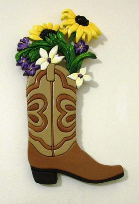 Art: 'BOOTS, BOOT, BOOTS' PAINTED ORIGINAL INTARSIA ART by Artist Gina Stern