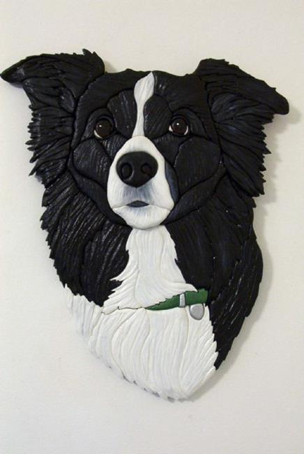 Art: BORDER COLLIE ORIGINAL PAINTED INTARSIA ART by Artist Gina Stern