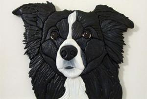 Detail Image for art BORDER COLLIE ORIGINAL PAINTED INTARSIA ART
