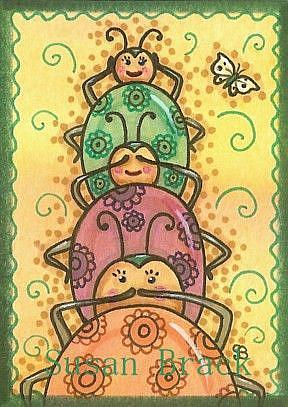 Art: LADYBUGS SEE NO EVIL by Artist Susan Brack