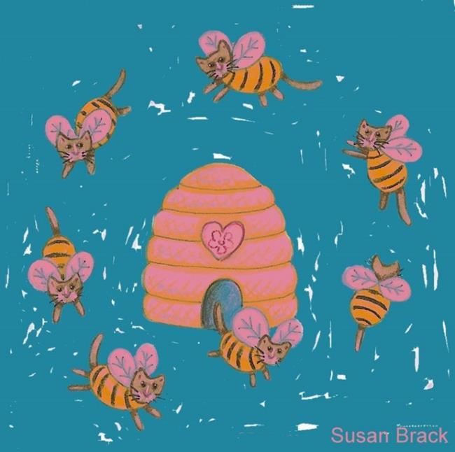 Art: RING OF BUMBLECATS Pink Blue by Artist Susan Brack