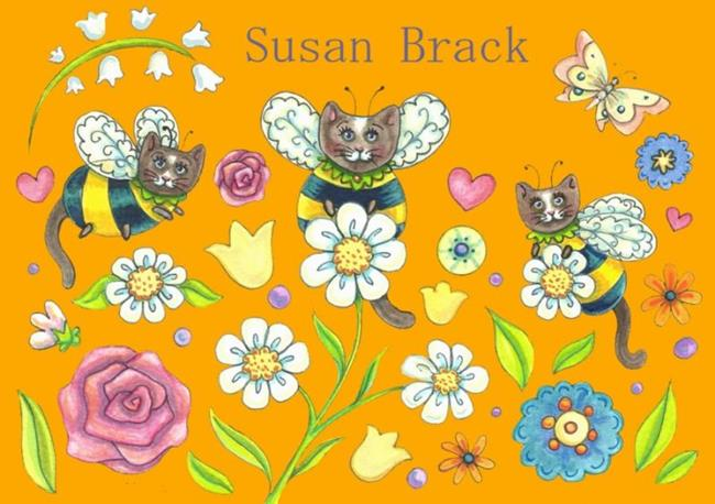 Art: BUMBLECAT SHAPES SUNNY YELLOW by Artist Susan Brack