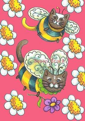 Art: BUMBLECAT Sample MOTIFF PINK DAISIES by Artist Susan Brack