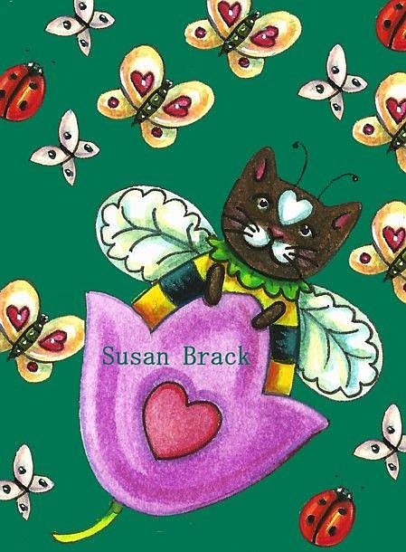 Art: BUMBLECAT Sample MOTIFF LADYBUGS GREEN by Artist Susan Brack