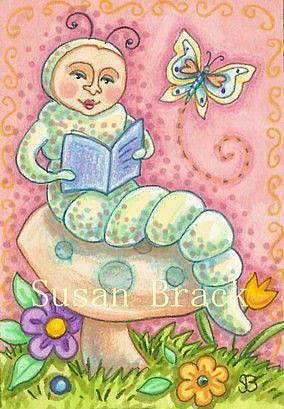 Art: READING A BUTTERFLY STORY by Artist Susan Brack