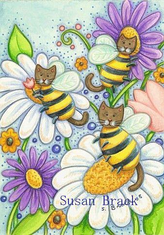 Art: BUMBLECAT BUZZ by Artist Susan Brack
