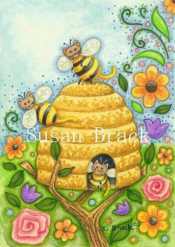 Art: BUMBLECATS BEEHIVE by Artist Susan Brack
