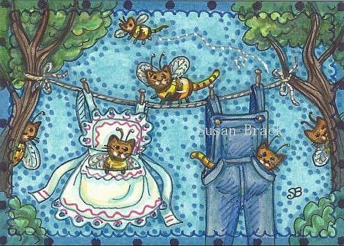 Art: CLOTHESLINE BUMBLECATS by Artist Susan Brack