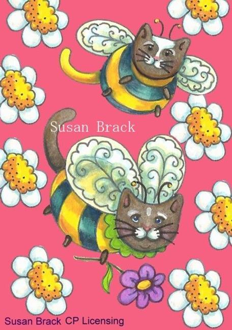 Art: BUMBLECAT ACEO MOTIF PINK by Artist Susan Brack