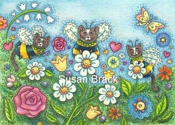 Art: PLANT A BUMBLECAT GARDEN Original Folk Art by Artist Susan Brack