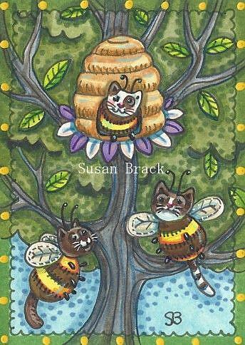 Art: BUMBLECAT HIVE ACEO by Artist Susan Brack