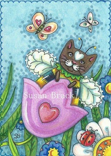 Art: Bumblecat: SWINGING TULIPS MAKE BUMBLECATS PURR by Artist Susan Brack