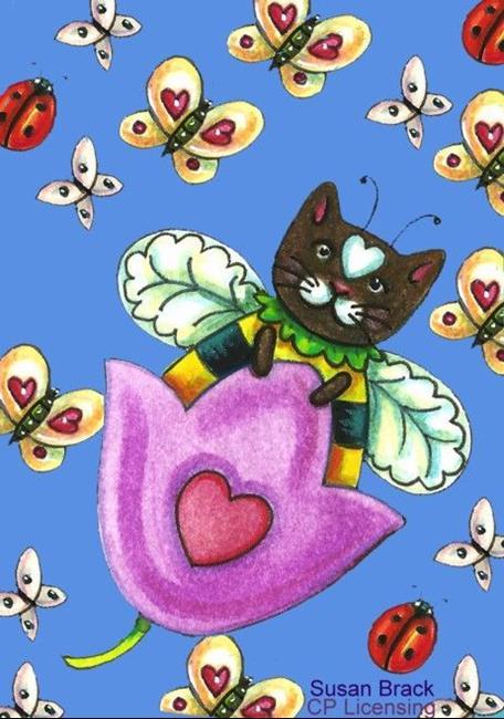 Art: BUMBLECAT Swinging Tulip Periwinkle Colorway by Artist Susan Brack