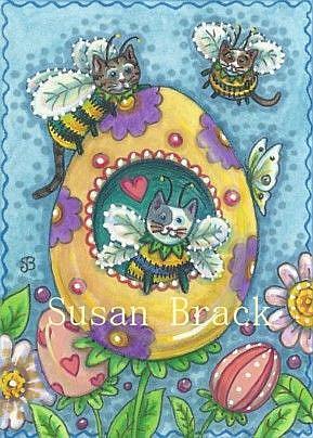 Art: BUMBLECAT'S EASTER GARDEN by Artist Susan Brack