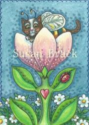 Art: BUMBLECATS ARE PURRRFECT POLLINATORS by Artist Susan Brack