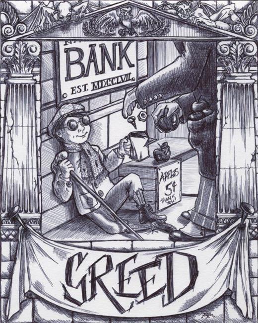 Art: Greed by Artist Madeline  Carol Matz