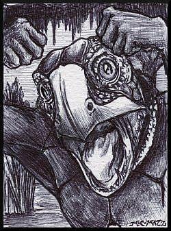 Art: Angry Turtlehead Man by Artist Madeline  Carol Matz