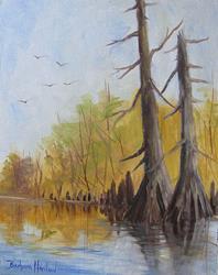 Art: Ken's Cypress Trees by Artist Barbara Haviland