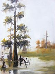 Art: Caddo Lake  Cypress by Artist Barbara Haviland
