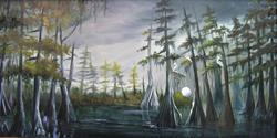 Art: Night Time  in the Bayou by Artist Barbara Haviland