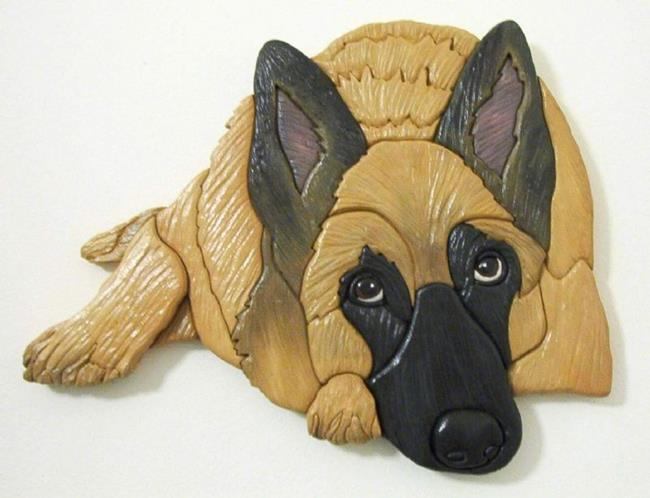 Art: Belgian Malinoise Original Painted Intarsia Art by Artist Gina Stern