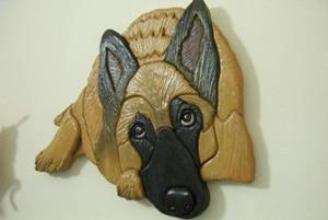 Detail Image for art Belgian Malinoise Original Painted Intarsia Art
