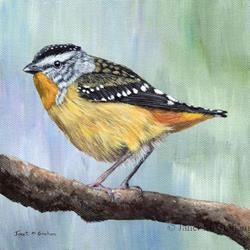 Art: Spotted Pardalote by Artist Janet M Graham
