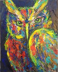 Art: Psychedelic Owl Abstract Impasto by Artist Penny StewArt