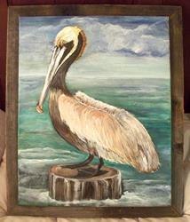 Art: pelican in frame1 by Artist Penny StewArt
