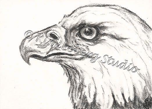 Art: Charcoal Eagle by Artist Kim Loberg